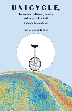 Unicycle, the Book of Fictitious Symmetry and Non-Random Truth (Nature's Democratic Pi)